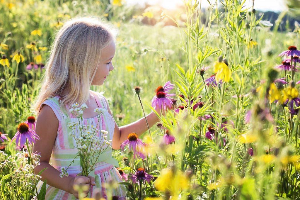 jeune fille dans un champ de fleurs